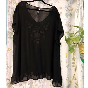 TORRID BLACK SHEER SHIRT/SWIM COVER